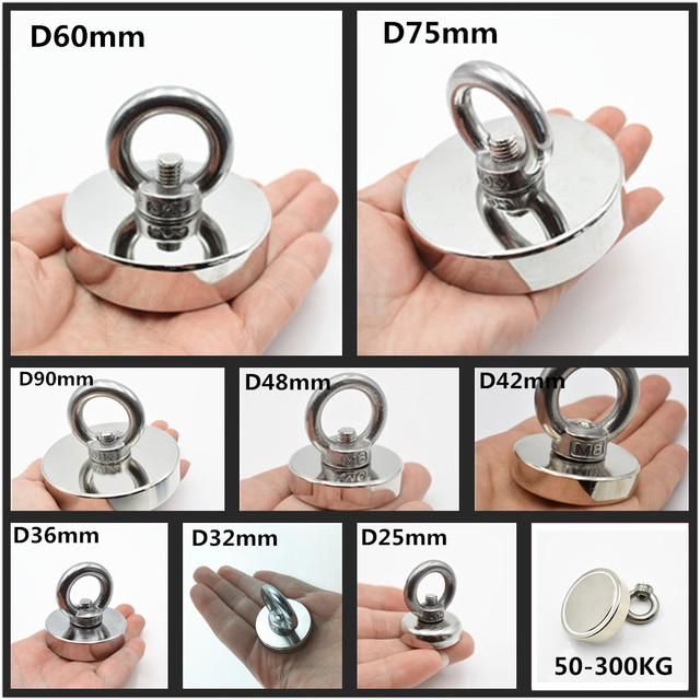 D60mm strong powerful round neodymium Magnet hook salvage magnet sea  Fishing equipments Holder Pulling Mounting Pot with ring