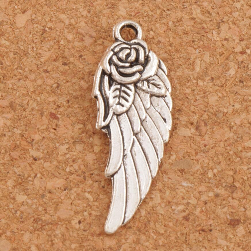 Крыло ангела w/Роза Spacer шарики шарма 148 шт. Антикварные Серебряные Подвески ручной работы ювелирные изделия DIY L1625