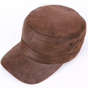 Мужская кепка из натуральной кожи, уличная бейсболка для взрослых, кепка для отдыха на осень и зиму, плоская кепка, шапка для людей преклонно...