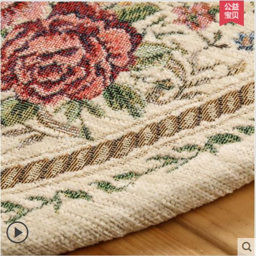 Round Jacquard Countryside Carpets For Living Room Flower Bedroom Rugs And Carpets Computer Chair Floor Mat Table Area Rug