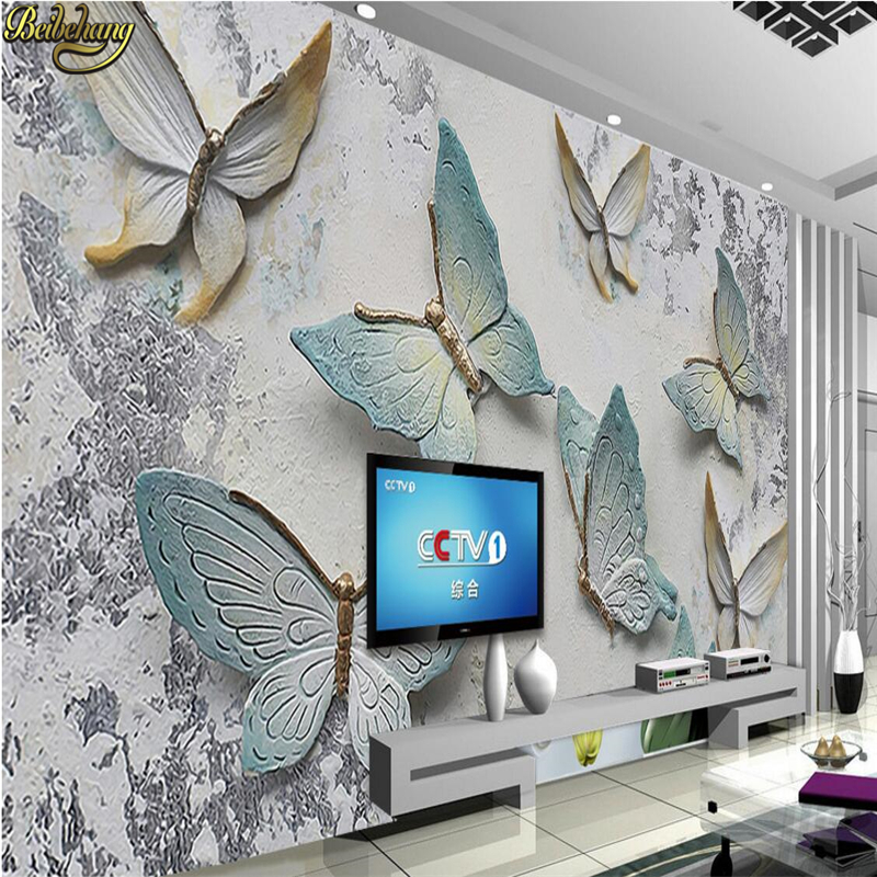 beibehang Custom photo wallpaper murals 3D butterfly relief wall background wallpaper for walls 3 d papel de parede wall paper beibehang custom marble pattern parquet papel de parede 3d photo mural wallpaper for walls 3 d living room bathroom wall paper