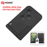 Yiqixin 3 botão chave de cartão inteligente 434 mhz id46 pcf7947/pcf7926 chip para renault clio logan megane 2 3 cénico cartão de chave do carro remoto
