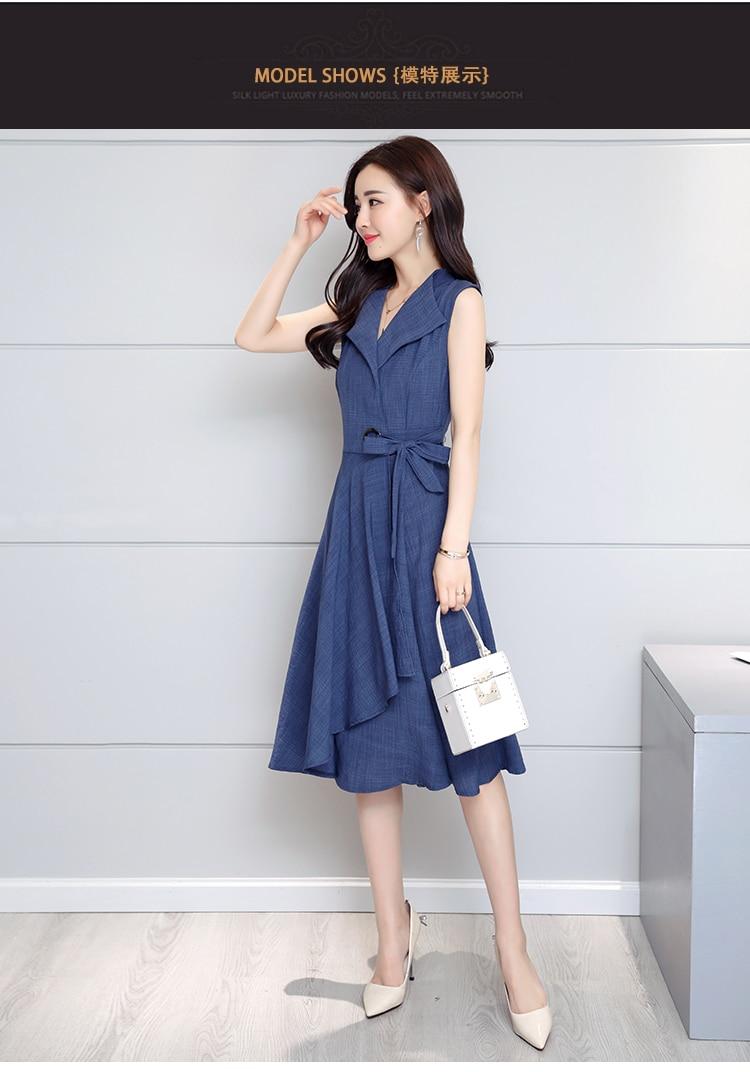 Saiqigui 19 new fashion Summer Dress Sleeveless work OL women dress casual A-Lin v-neck Elegant dress vestidos de festa 4