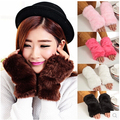 Autumn and winter women's faux raccoon rabbit fox fur Gloves winter thicken warm thermal semi-finger fingerless gloves