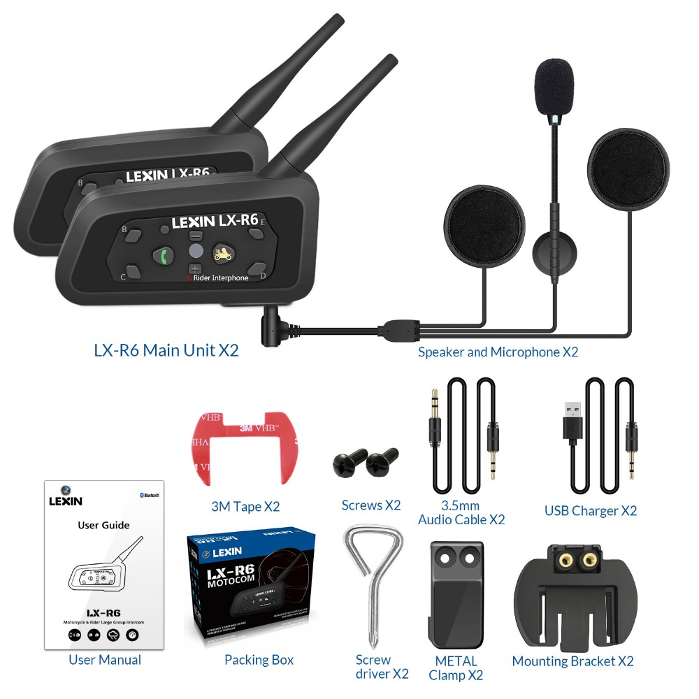 2 ШТ. Lexin R6 Мотоциклетный Bluetooth Шлем Гарнитуры Домофон для 6 всадников BT Беспроводной домофон Интерфон MP3
