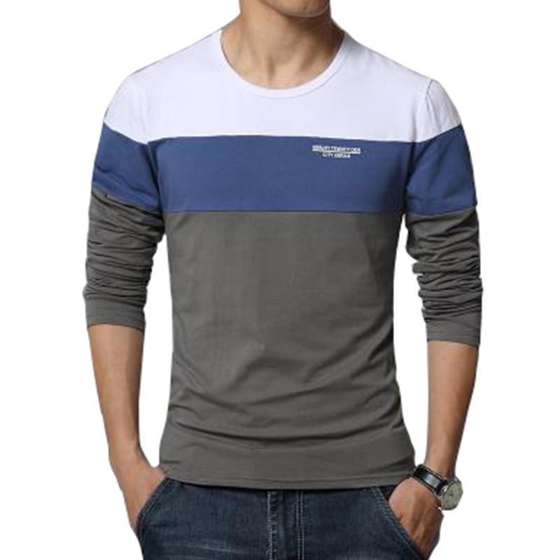 New fashion casual fitness slim men's long sleeved T-shirt 2019 free shipping stripe striped long sleeve t shirt men 3XL 4XL 5XL