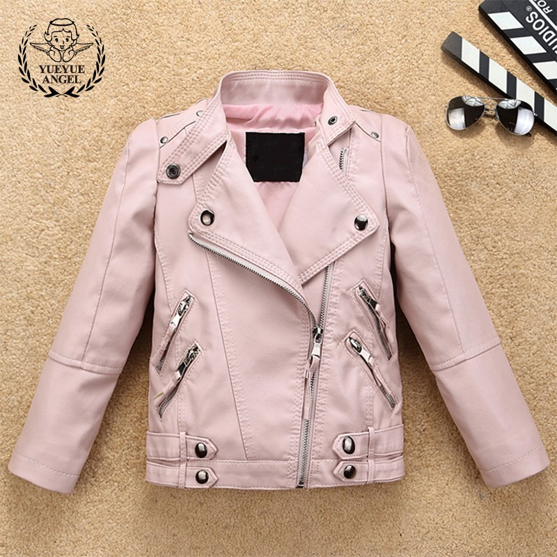 New Spring Pu Leather Jacket For Girls Zippers Punk Black Pink Outwear Jackets Chaqueta Nina Kids Slim Fit Rock Streetwear Coats цены