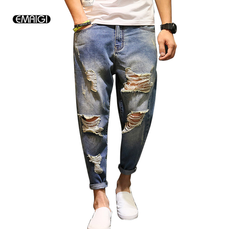 Large Size 28 42 Men Vintage Hole Denim Harem Pant Street Fashion Male Casual Loose Ripped