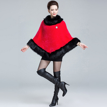 fake fox fur trim collar poncho red white black pullover hot selling winter coats think jacket outwear for female fashion capes