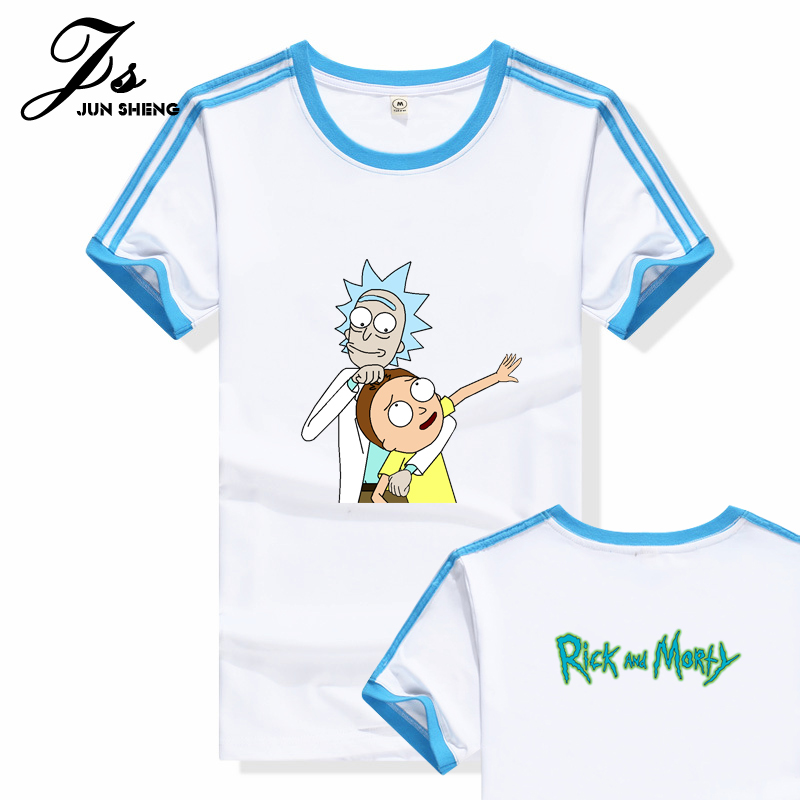 e10c3d2c4d28 Cool Rick Morty men t shirt 2016 palace Summer Anime T-shirts Peace among  worlds folk White Fitness Cartoon tee shirt homme