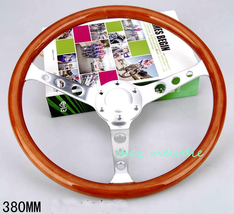 Brushed aluminium alloy spoke 38cm universal vintage classic wood bus car steering wheel with horn button