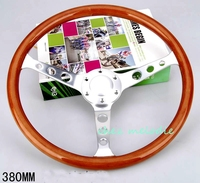 Brushed aluminium alloy spoke 38cm universal vintage classic wood bus car steering wheel with horn button round hole handmade