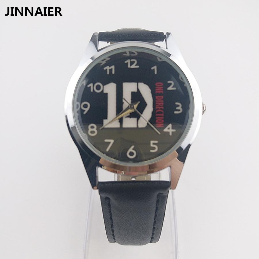 2017 новое поступление Super Star One Direction Band Черный Повседневные часы Обувь для мальчиков Обувь для девочек студентов подарки кожа наручные Часы