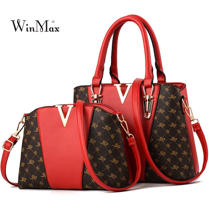 Image 2 - 2 PCS Women Bags Set Leather Handbag New Women Tote Bag Ladies Handbags Shoulder Bag for Women 2018 Luxury Messenger Bag Bolsas-in Top-Handle Bags from Luggage & Bags