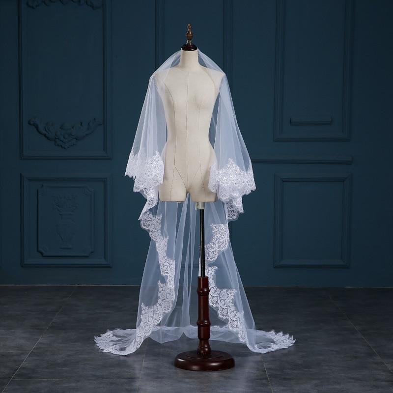 Romantic White/Ivory 3 Meters Wedding Veils Cathedral Veil Lace Edge One Layer Bridal Veil Wedding Accessories veu de noiva