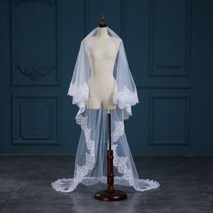 Image 4 - Romantic White/Ivory 3 Meters Wedding Veils Cathedral Veil Lace Edge One Layer Bridal Veil Wedding Accessories veu de noiva