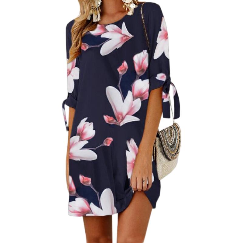 Female Floral Printed Mini Dress Plus Size Straight Casual Sundress 2018 Boho Women Summer Half Sleeve O-neck Boho GV591