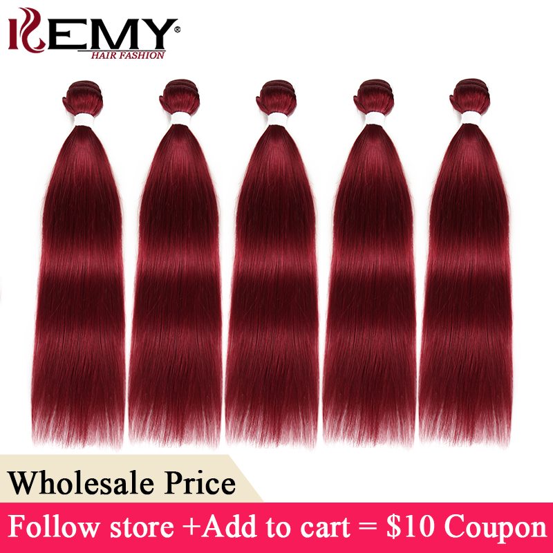 99J/Burgundy Human Hair Bundles Brazilian Straight Non-Remy Hair Weave Bundles KEMY HAIR 8-26 Inch Wholesale Hair Extensions(China)