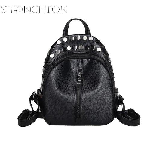 Women Backpack Girl Leather Rivets Black Backpacks for Teenage Women Travel Bag Small Back Pack