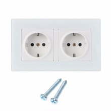 16A Wall Socket Double EU Standard White Glass Panel Power Outlet Charger AC110~250V Sockets welaik glass panel wall europe usb socket wall outlet white black europe standard power outlet ac110 250v a28e82usw b