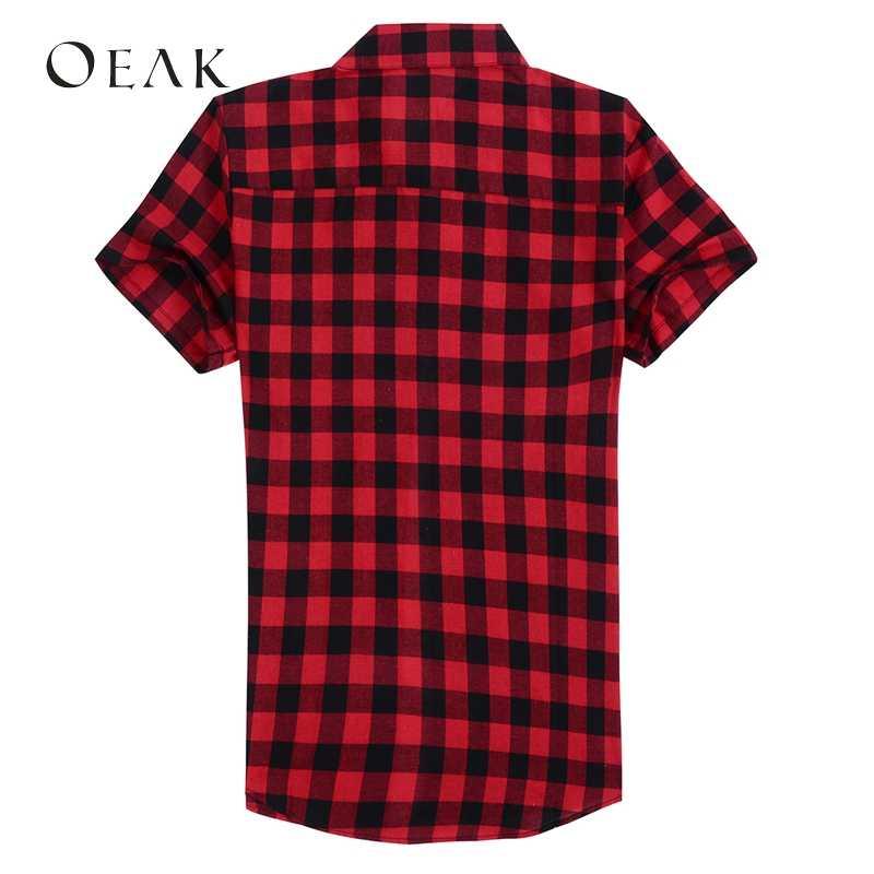 Oeak Mùa Hè Cổ Bẻ Ngắn Tay Nam Áo Sơ Mi Áo Kẻ Sọc In Hình Áo Sơ Mi Nam Cotton Áo Sơ Mi Basic camisa Hombre