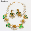 New fashion crystal bride statement necklace baroque green gem leaves crystal jewelry female shiny short necklace accessories