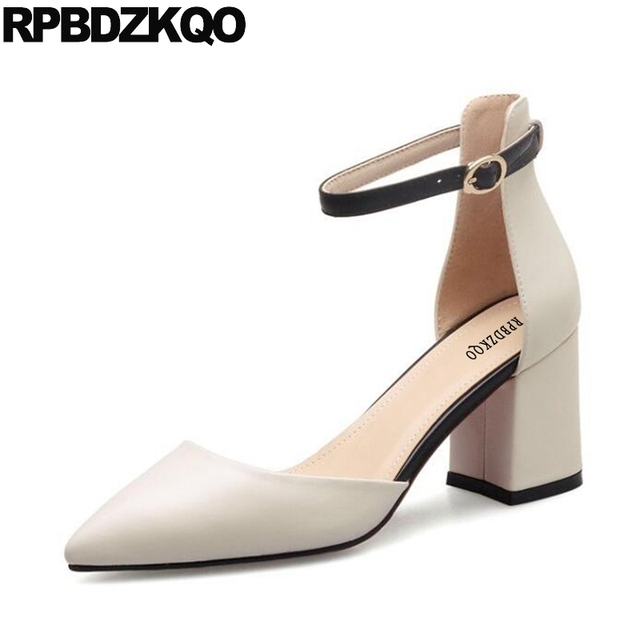 Ankle Strap 2017 Sandals Beige Pointed Toe Top Quality Women High Heels Pumps Office Shoes