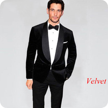 Latest Designs Black Smoking Jacket Velvet Men Suits Wedding Suit Groom Tuxedos 2Piece Man Blazer Evening Party Costume Homme