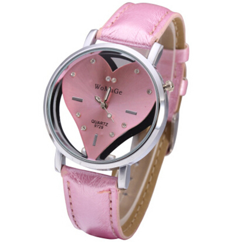 Brand Women Watches Enfant Ceasuri Luxury Diamond Elegant Ladies Hodinky Lovely Pink Heart Dial Girls Quartz Clock Femme Rejores