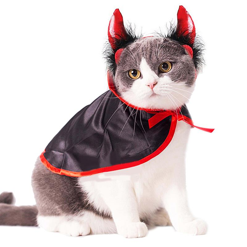 Halloween Pet Costumes Cute Cosplay Vampire Cloak Cape Dog Cap With Cosplay Horns