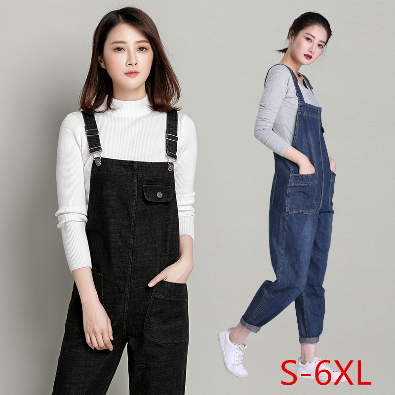 Cowboy Breastplate Women High Waist Jumpsuit Female Loose   Jeans   Woman Pants Plus Size Salopette   Jean   Boyfriend Denim Overalls