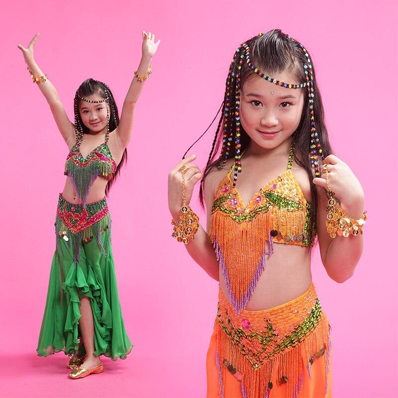 Filles danse du ventre 3 pièces ensemble vert/orange (soutien-gorge + jupe + ceinture) enfants professionnel perle gland indien/egypte costumes de danse