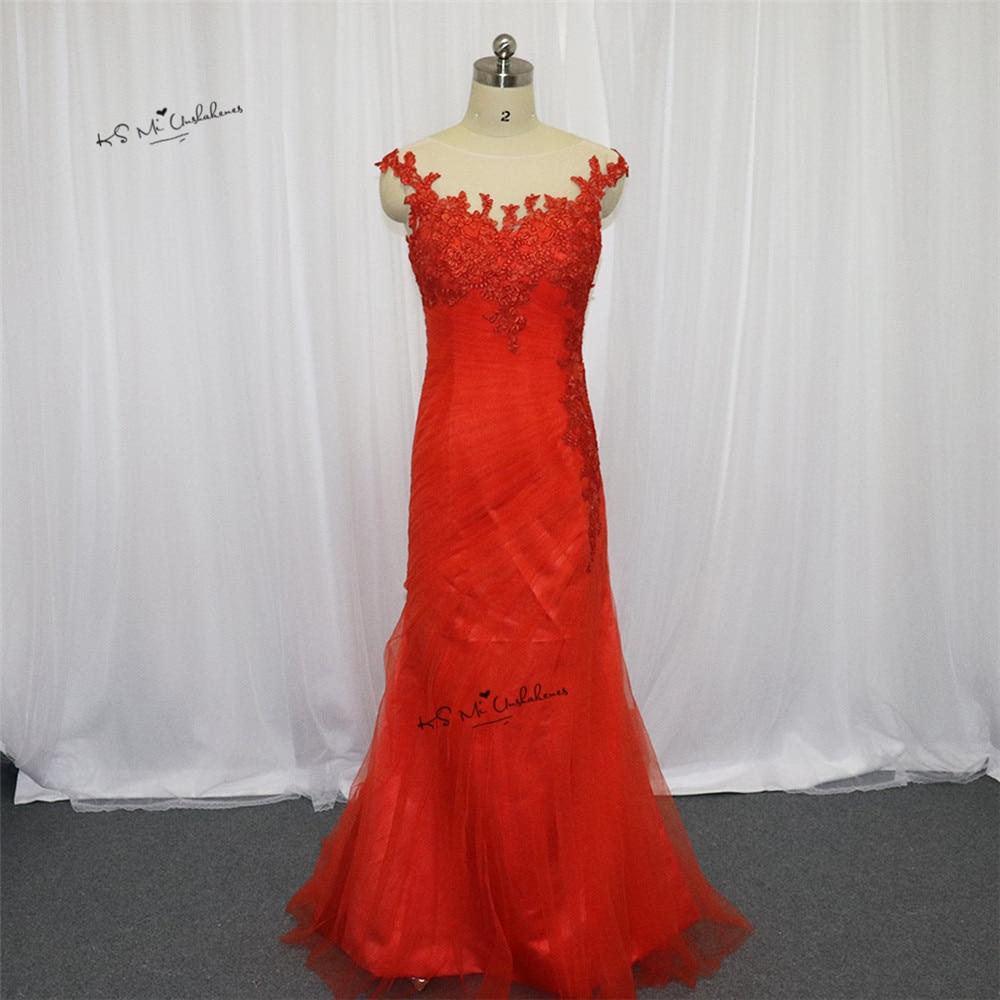 Célèbre Design dentelle Orange robes de bal 2017 femmes élégant sirène formelle robes de soirée plissé Tulle robes de Gala Noche