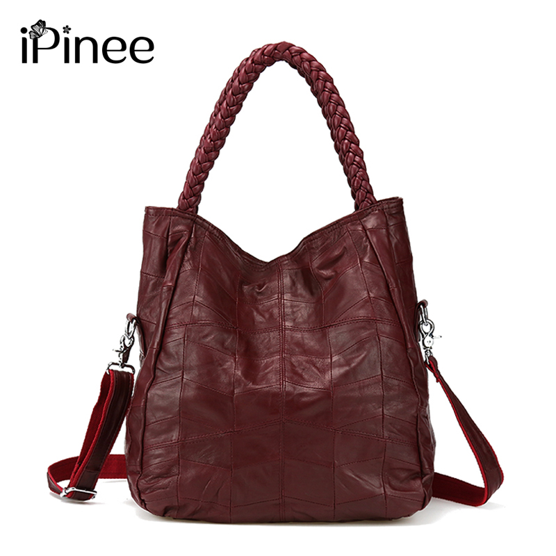 iPinee 100% Genuine Leather Bags Real Sheepskin Women Handbags Patchwork Crossbody Bags For Women Free Shipping cossloo women genuine sheepskin leather handbags messenger bags real leather handbags fashion large shoulder bags free shipping