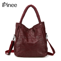 iPinee 100% Genuine Leather Bags Real Sheepskin Women Handbags Patchwork Crossbody Bags For Women Free Shipping