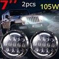 """Jeeps Wrangler 7 """"pulgadas 105 W Faros LED Hi/Lo de Haz con Ámbar y Blanco DRL Para 1997-2016 TJ LJ JK Ilimitado"""