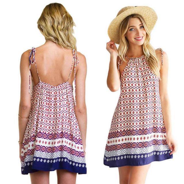 Fashion Women Boho Dress Summer loose Printed Halter Style ...
