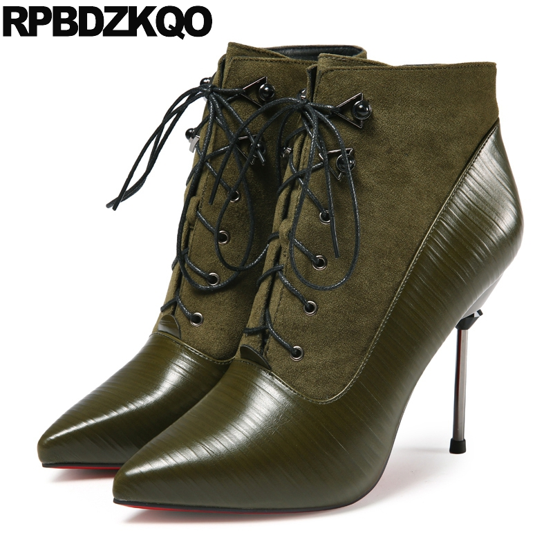 где купить Shoes Fall Winter Fetish Fur Ankle High Heel Booties Lace Up Sexy Ladies Green Stiletto Metal Boots Pointed Toe Chinese 2017 New по лучшей цене