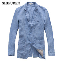 SHIFUREN New Spring Autumn Causal Men Linen Jacket Long Sleeve 100% Pure Linen Breathable Male Blazers Single Breasted Jaqueta
