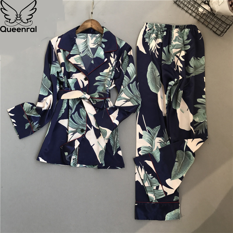 Queenral 2 PCS Silk Satin Women   Pajama     Set   Sleepwear Long Sleeve Trousers Lingerie Homewear Pijamas For Woman Home Suit Printing