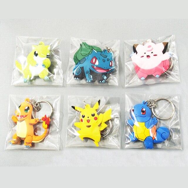 3D Anime Pokemon Go Key Ring Pikachu Keychain Pocket Monsters Key Holder 3