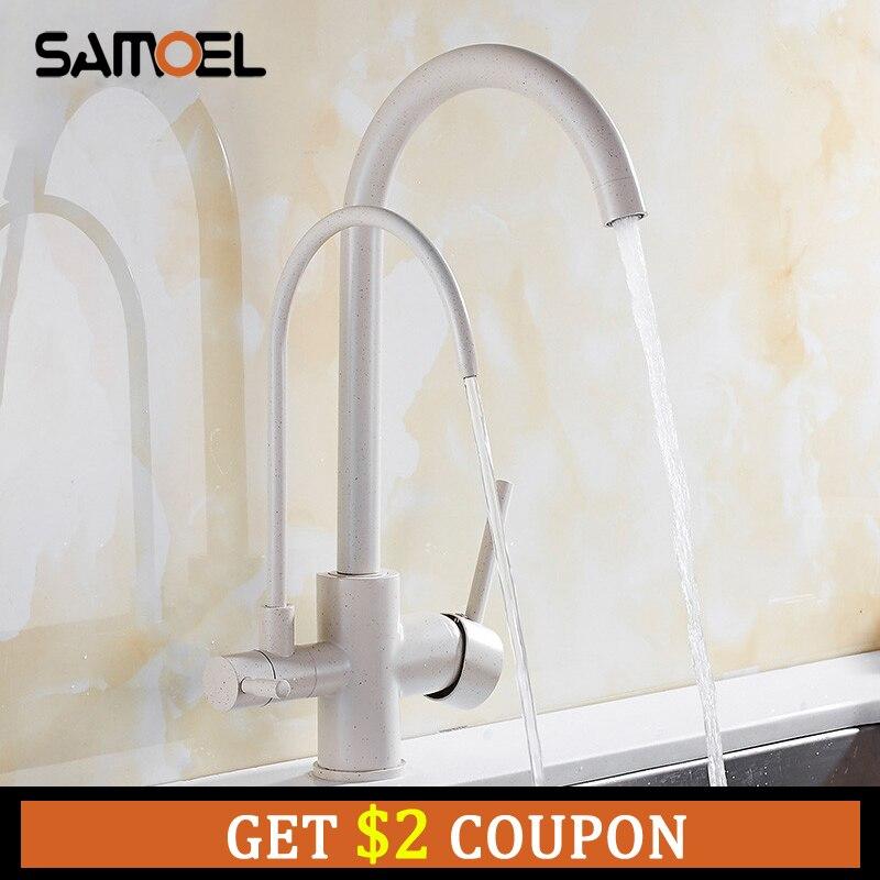 Support de pont blanc crème robinets de cuisine 3 voies robinets mélangeur deux poignées en laiton filtre à eau chaude froide W3041