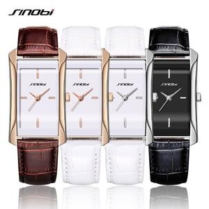 Image 4 - SINOBI eleganckie damskie prostokątne zegarki trwałe skórzane Watchband Top luksusowa marka panie genewa zegar kwarcowy kobiet prezent