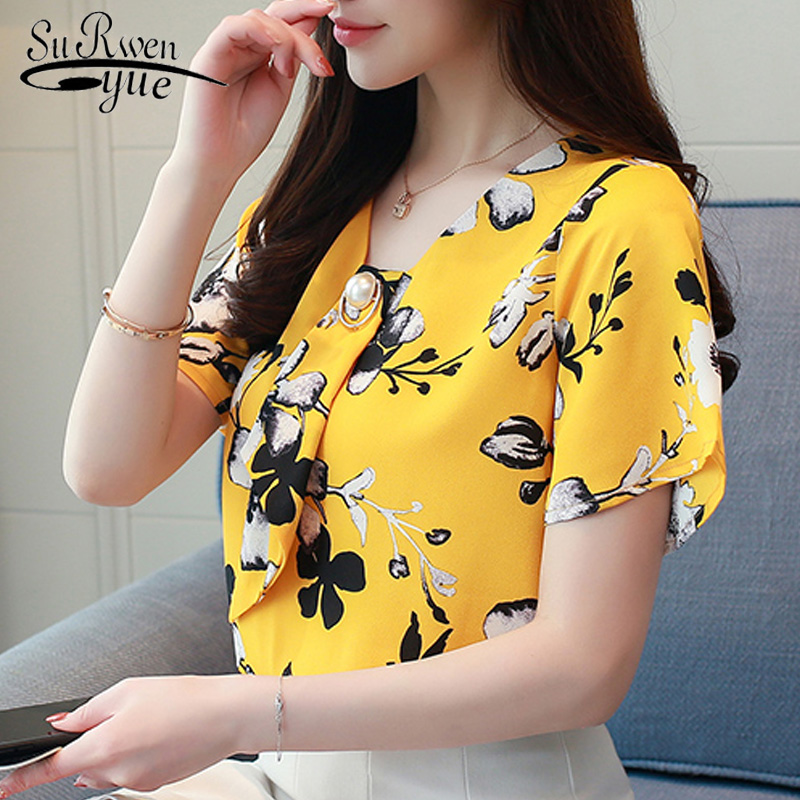 2019 fashion plus size chiffon women   blouse     shirt   short sleeve summer tops chiffon   blouse     shirt   female clothing blusas 0157 40