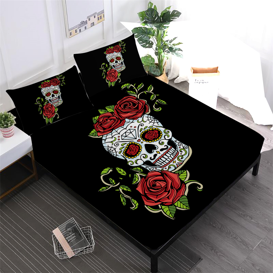 4pcs Sheets Set Sugar Skull Sheet Rose Floral Print Fitted Sheet Colorful Bed Linens Soft Bedclothes Day of the Dead Pillowcase