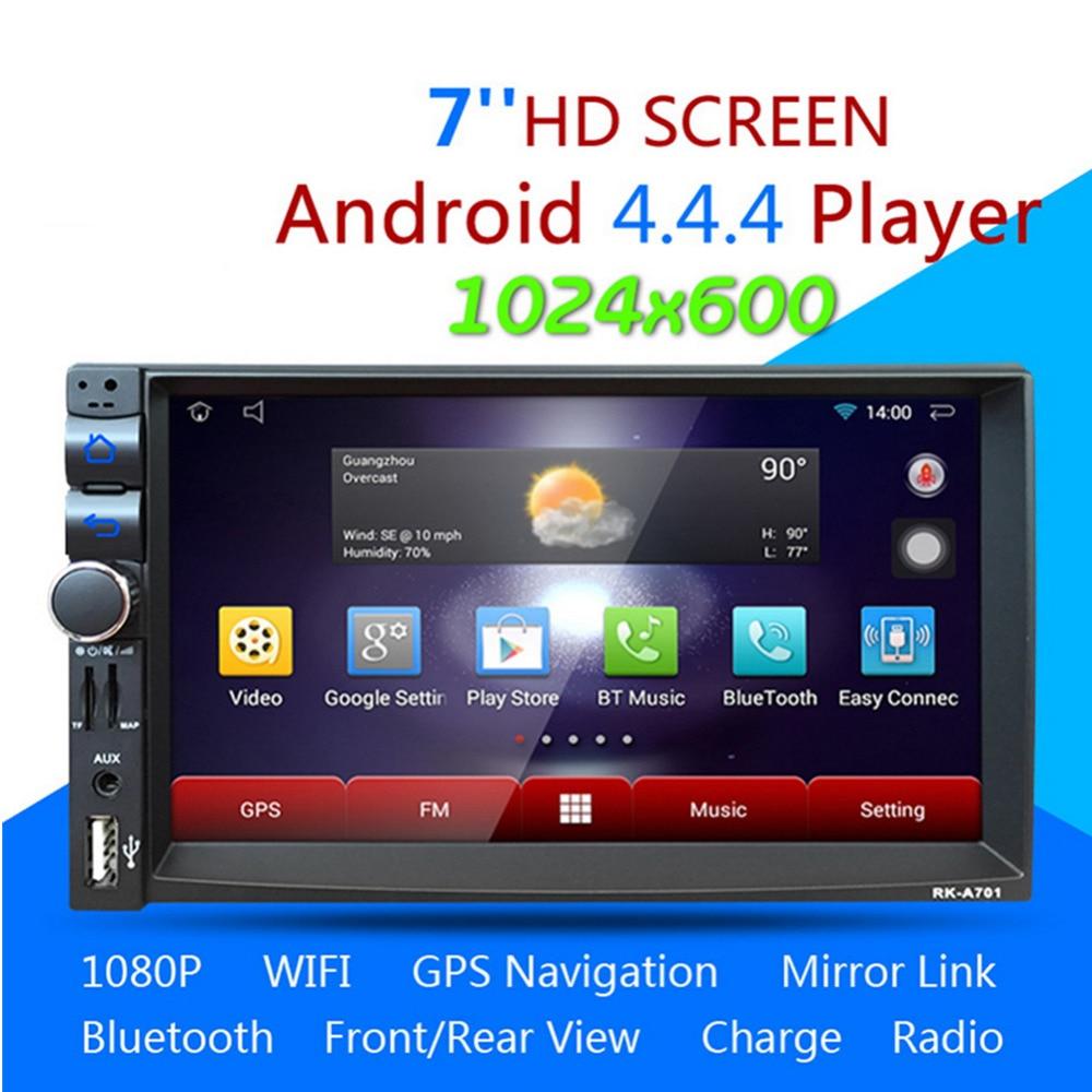 2 Din Android 4.44 Car DVD player GPS+Wifi Bluetooth Radio+Steering Wheel Control 1.6G Dual-core Multimedia Car Stereo Player автомобильный dvd плеер joyous kd 7 800 480 2 din 4 4 gps navi toyota rav4 4 4 dvd dual core rds wifi 3g
