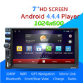 2 din android 4.44 coches reproductor de dvd gps + wifi bluetooth radio + control del volante 1.6g dual-núcleo multimedia car stereo reproductor