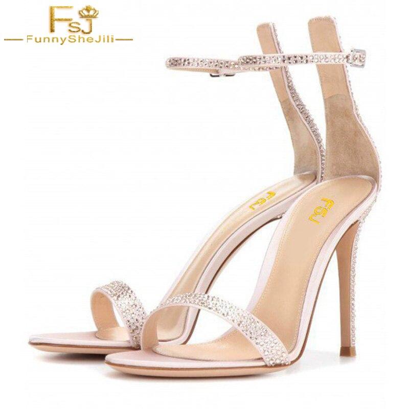 fd845baf70f Online Shop Summer Woman Shoes Champagne Bridal Sandals Ankle Strap  Rhinestone Stiletto Heels Crystal Solid Party Buckle Strap Size 12 FSJ