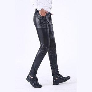 Image 2 - Idopy男性のビジネススリムフィット5ポケットストレッチ快適なブラックソリッドフェイクレザーのズボンのジーンズ男性