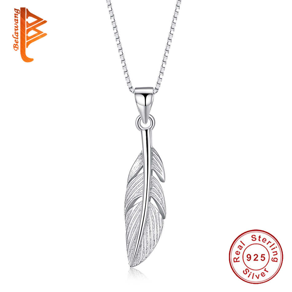 BELAWANG Real 925 Sterling Silver Feather Wing Leaf สร้อยคอและจี้ Elegant Choker เครื่องประดับสร้อยคอผู้หญิง Collares mujer